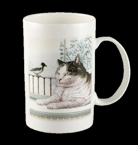 """Porcelāna krūze """"Kaķis ar putnu"""""""