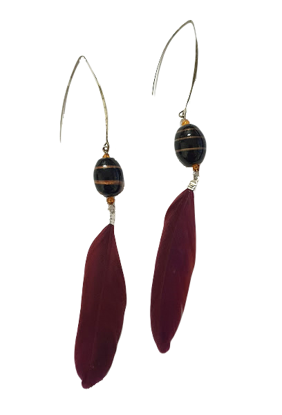 Long feather earrings with large hooks
