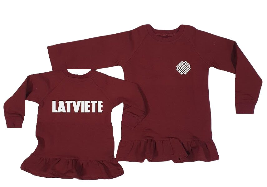 """Sweater with ruffles for a girl """"LATVIETE"""", burgundy"""