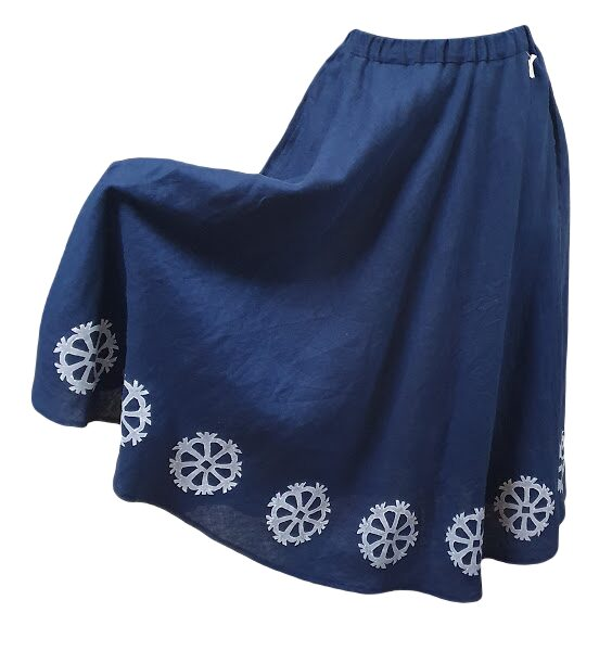 льняная юбка со знаком солнца