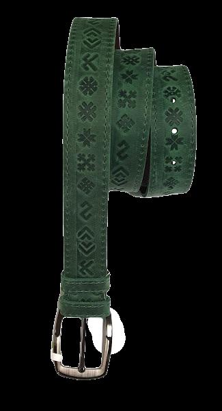 """Ремень из натуральной кожи """"7 знаков"""" (зеленый)- L"""