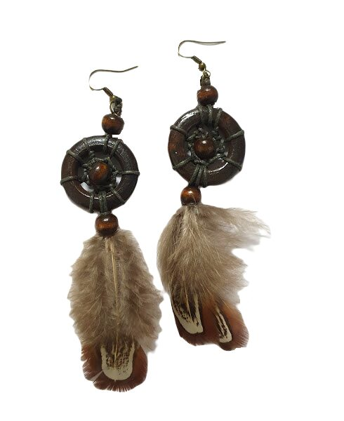 Wooden earrings with feathers
