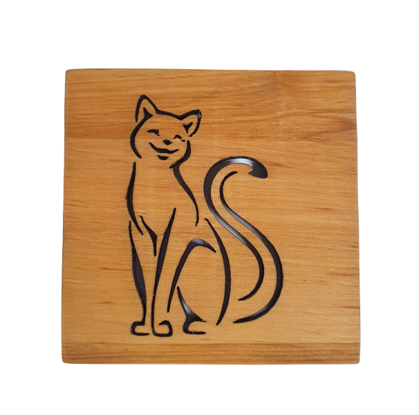 """Wooden cup tray """"Cat No.1"""""""