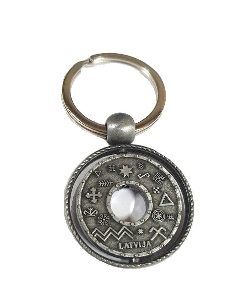 Key ring Latvian strength signs (silver color)