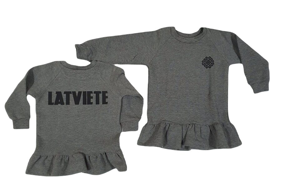 """Sweater with ruffle for a girl """"LATVIETE"""", gray"""